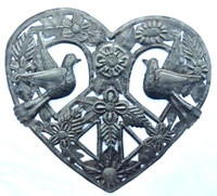 recycled Haitian metal heart with peace and love