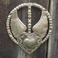 religious rosary art, milagro heart with wings, it's cactus metal art haiti