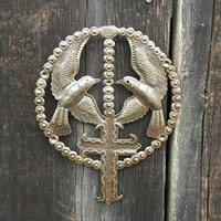 Metal Birds and Cross from Haiti, Rosary, Devotional Folk Art