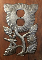Metal Flower Power Electrical Plate, Quality Craftsmanship from Haiti