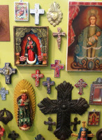 """Small Cross with Milagro Charms 4"""""""