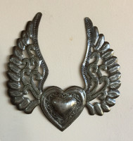 Heart with Wings, Flying Heart, Tattoo Art, Winged Heart- Haitian Recycled Metal
