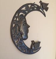 moon and birds haitian metal wall art