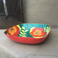 paper mache hand painted bowl Haiti