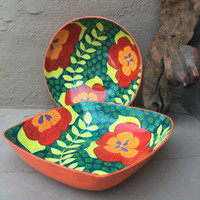 """Haitian Hand Painted Bowl (Square Large), Made from Paper Mache, 9"""" x 9"""""""