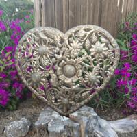 recycled steel garden heart