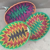 Brightly colorful Mexican hand coiled baskets