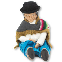 Old Lady Doll Wrinkled Face, Traditional Bolivian Dress with Baby on her Back