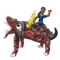 Ocumicho Mexico Tomasa Gonzalez Girl Riding Devil Dog