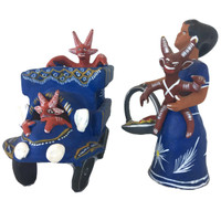 Ocumicho hand sculpted mother and Devil in a basket
