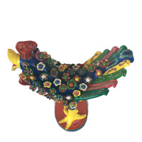 Gerardo Ortega Rooster with Feathers Large Blue top view