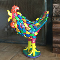 Gerardo Ortega Rooster with Feathers Large Pink