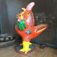 Unique Three Headed Rooster by Serapio Medrano Hernandez, son of renowned ceramics sculptor Candelario Medrano.