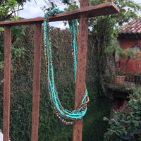 Blue multi strand south western style beaded necklace Guatemala