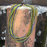Fair Trade Multi Strand Choker Necklace made of glass beads that have been hand loomed by women artisans in the Lake Atitlan region Guatemala