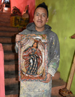 """Virgin Mary Hand Carved Solid Wood Decorative Panel, Wall Art 11.5"""" x 19"""""""