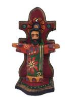 Jesus hand carved mini saint on shelf