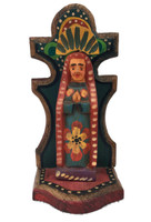 "Virgin Mary, Artisan Crafted Wooden Saints 3.5"" x 3"" x 7.5"""