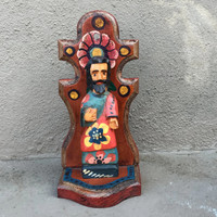"Artisan Crafted Wooden Saints 3.5"" x 3"" x 7.5"""