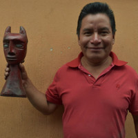 "Two Faced Artisan Top Head Guatemalan Wood Carving 4.5"" x 14"""