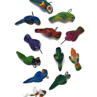 Flock of hand painted birds from Guatemala