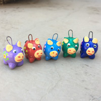 Colorful hand painted Pig Beads and Charms  from Guatemala