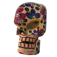 skeleton mask with movable jaw, brightly painted day of the dead