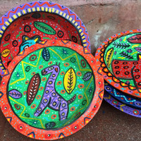whimsical brightly painted folk art bowls