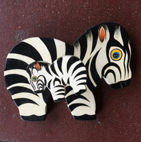 Hand painted wooden  Zebra wall hook