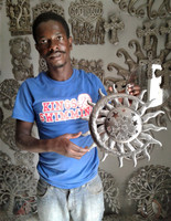 """Sun and Moon with Stars, Artistic Quality Craftsmanship from Haiti, Handmade from recycled oil drums 14""""x14.5"""""""