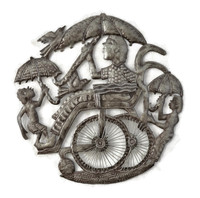 Boy on Wheelchair with Umbrella, Haitian Recycled Metals, Free Trade, Limited Edition