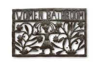 Women Bathroom Sign, Bathroom Sign, Office Decor, Haiti Metal Art, One-of-a-Kind, Fair Trade, Sustainable, Eco-Friendly