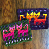 hand crocheted Guatemalan coin purse with cat design