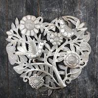 Floral metal heart