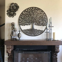 """it's cactus - metal art haiti Large Family Tree, Wall Plaque, Indoor or Outdoor, Decorative Home Artwork, Handmade from Recycled Steel Barrels, 33.5"""""""