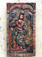 """Virgin Mary Religious Hand Carved Solid Wood Decorative Panel, Wall Art 11"""" x 20"""""""