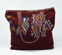 Mayan Arts Huipile & Leather Tote, Embroidered Recycled Ethnic Blouse, Vibrant Cultural Motifs, Handmade Purses from Guatemala Handcrafted in Guatemala