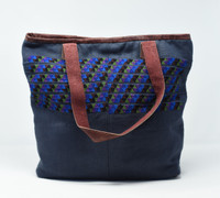 Huipile & Leather Tote, Embroidered Recycled Ethnic Blouse, Gray Blue with pattern embellishments, , Handmade Purses from Guatemala Handcrafted in Guatemala