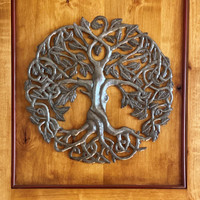 Celtic Tree of Life, Hand Made Recycled Metal Art Haiti