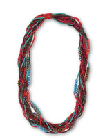 """Beaded Necklace, Red and Gold Tones, Sparkly Beads, Women Necklaces, Jewelry, Magnetic Clasps, 20"""" Handmade"""