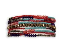 "Beaded Bracelet, Magnetic Clasp, Turquoise, Multi Strand, Shabby Chic, Jewelry, Handmade in Guatemala, 7.5"""