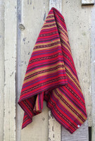 Vintage Solola Tzute Guatemala, Hand Woven Textile, Red and Brown Tones, Table Cloth, or Shawl, or Decorative Wall Hanging
