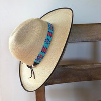 """Hat Band, Hatband, Cowboy, Cowgirl, Rodeo Western,  Leather ties, Beaded, Turquoise, red, and blue, Handmade in Guatemala 7/8"""" X 21"""""""