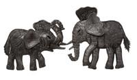 "Decorative Mini Elephants, Metal Figurines, Handmade Elephant, Set of 2, 5"" x 6"", 6"" x 6"""