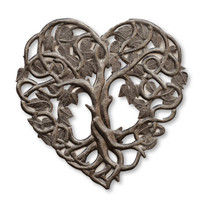 Heart Shaped Tree of Life Metal Wall Art, Contemporary Steel Artwork Decor, Celtic Family