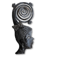 """Metal Masks, Silhouette Girls, Decorative Wall Hanging, Collectible Mask Sculptures, Eclectic, Original, Unique Steel Metal Masks from Haiti  7"""" x 17"""""""