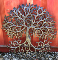 """Dancing in The Wind Metal Spring Garden Tree Wall Art, Curly Roots, Family Tree, 23.75"""" x 23.75"""""""