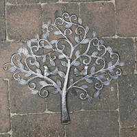 "Love Birds, Small Spring Garden Tree, Handmade from Recycle Oil Barrels 19.75"" x 20"""