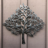 "Love Birds, Small Spring Garden Tree, Handmade from Recycle Oil Barrels 19.75"" x 20"""