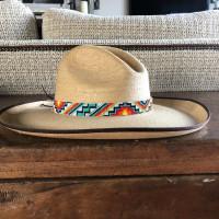 "Hat Band, Hatband, Cowboy, Western, Leather, Beaded, Turquoise, Orange, Aztec Designs, Handmade in Guatemala 7/8"" X 21.5"""